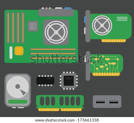 vector collection of personal computer parts: motherboard, video card, hard drive, network card, usb connector, coolers, chips, isolated on grey background - stock vector