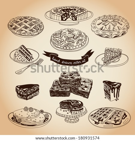 Vector collection of pie, cakes and sweets icons. Hand drawn illustration with Cakes and cupcakes. Teatime set. - stock vector