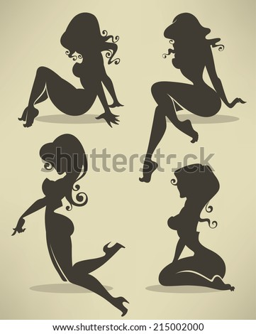 vector collection of pinup girls silhouettes in different poses - stock vector