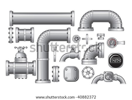 Vector Collection of Pipe and Pipeline Isolated Construction Pieces, Pipes Elements , Valve, Faucet (detailed -no gradients/no meshes) - stock vector
