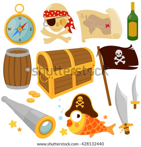 Vector collection of pirate themed illustrations - stock vector