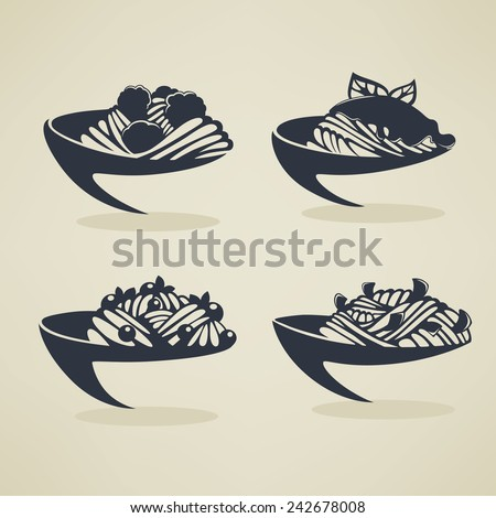 vector collection of plates with spaghetti - stock vector