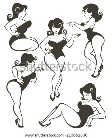 vector collection of plus size pin up girls - stock vector