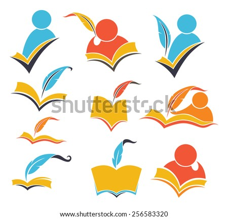 vector collection of reading symbols, books, studying and education - stock vector