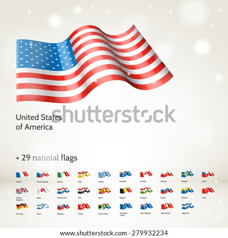 Vector collection of 30 realistic 3d waving National flags. High quality design elements. Eps10  - stock vector