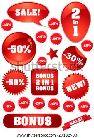 "Vector collection of red ""sale"" signs for your business artwork"