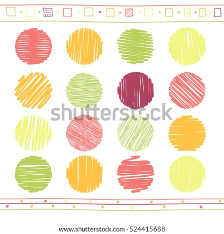 Vector collection of retro scribbled circular lines with hand drawn style of green, red and yellow color