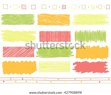 Vector collection of retro scribbled lines with hand drawn style of green, orange, pink and red color