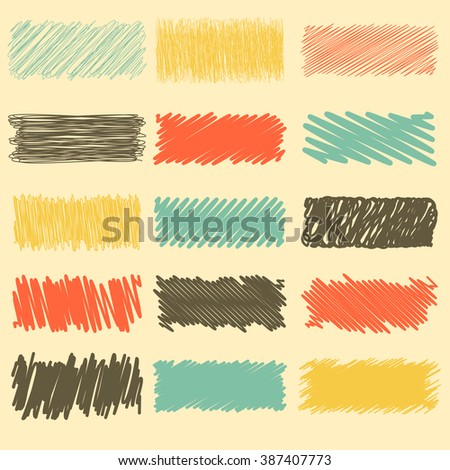 Vector collection of retro scribbled lines with hand drawn style of red, yellow, black and blue color