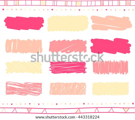 Vector collection of retro scribbled lines with hand drawn style of yellow, pink and magenta colors - stock vector
