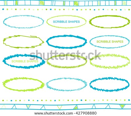 Vector collection of retro scribbled oval frames with hand drawn style of green and blue color