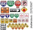 vector collection of road signs volume one - stock vector