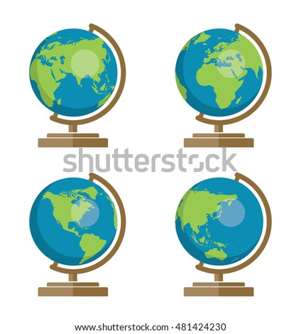 vector collection of school earth globes icons for geography illustration