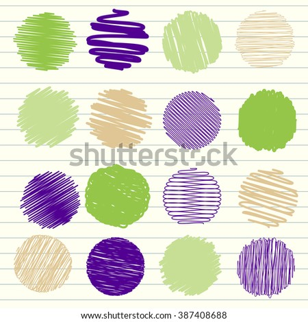 Vector collection of scribbled lines with hand drawn style of green and blue color - stock vector