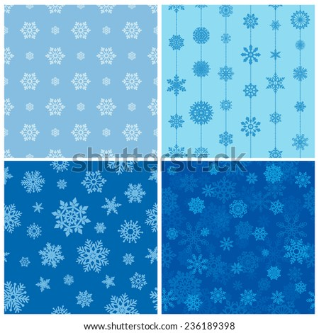 vector collection of seamless backgrounds with snowflakes - stock vector