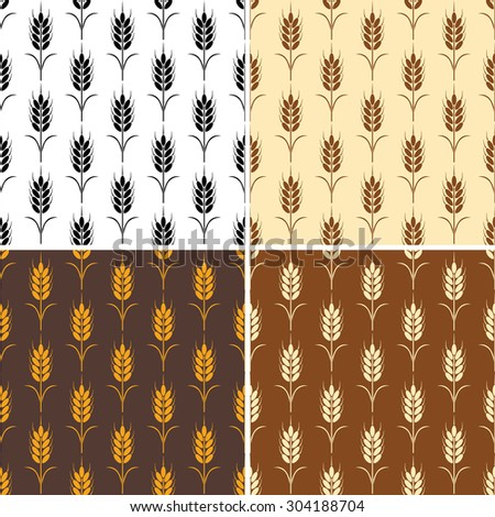 vector collection of seamless repeating wheat patterns - stock vector