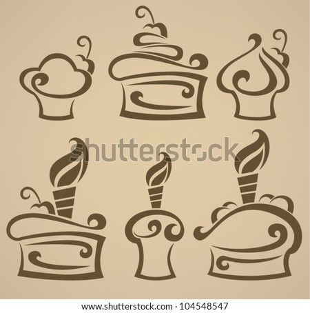 Vector collection of simple images of cakes cupcakes and candies