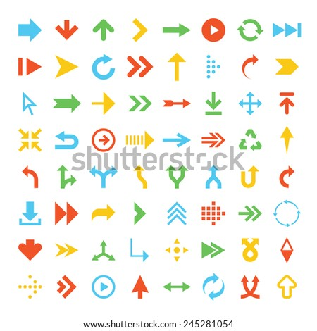 Vector collection of simplistic colorful arrow icons. - stock vector