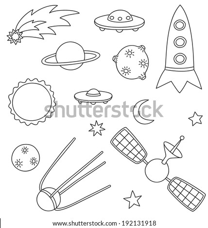 Vector collection of spaceship, planets and stars - stock vector