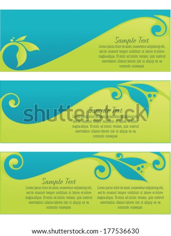 vector collection of spring eco headers and banners  - stock vector