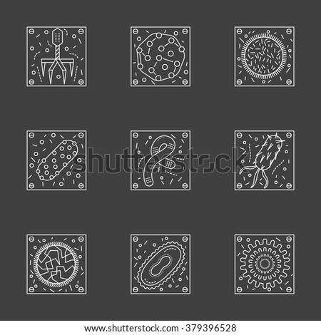 Vector collection of stylish flat thin line icons for microbiology and virology on black background. Laboratory studies of viruses and germs Elements of web design for business, website and mobile. - stock vector