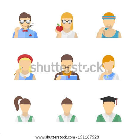 Vector collection of stylish student, teacher and other education characters in modern flat design style. Isolated on white background.  - stock vector