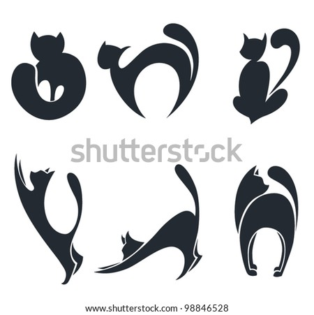 vector collection of stylized cats silhouettes