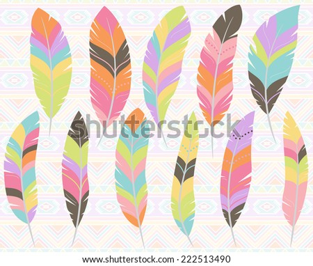 Vector Collection of Stylized Feathers - stock vector