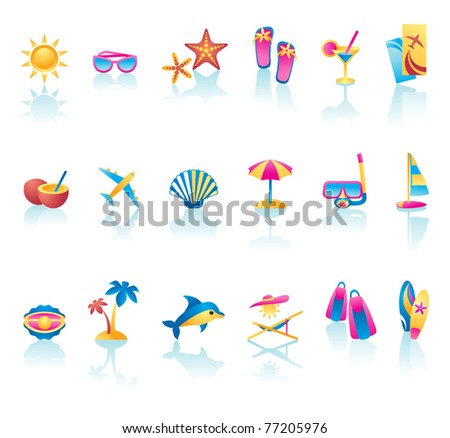 Vector collection of summer time icons - stock vector