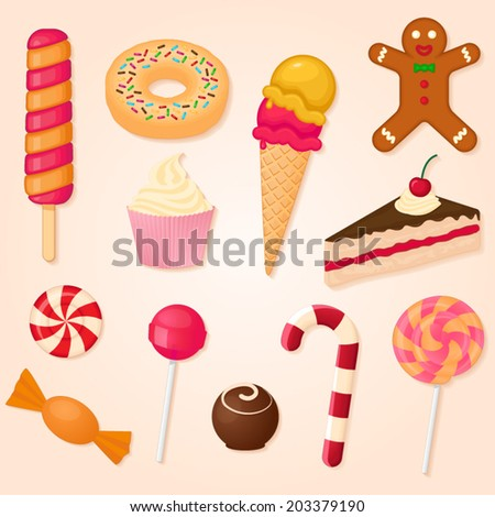 vector collection of sweets - stock vector
