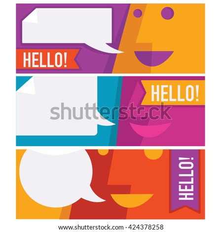 vector collection of talking, speaking and communication banners design template - stock vector
