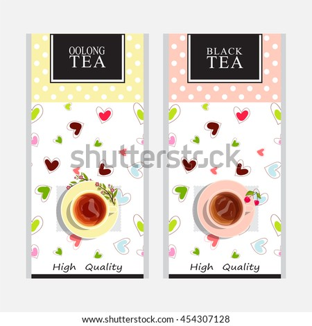 Vector collection of tea packages. Cute colored background or labels, stickers, paper packet design for black and oolong tea. Yellow and pink cups of tea, sweet hearts. Tender series 1 from 3