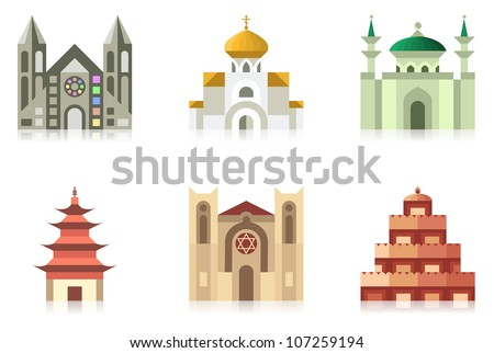 Vector collection of temples of world religions - stock vector