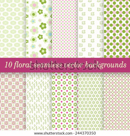 vector collection of ten seamless floral backgrounds - stock vector