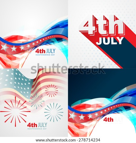 vector collection of 4th july american independence day background with wave
