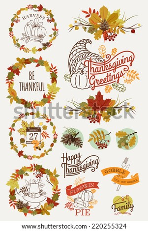 Vector collection of thanksgiving design elements | Happy thanksgiving lettering, word art, wreaths, spacers and other text decoration items - stock vector