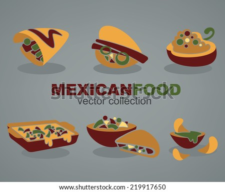 vector collection of traditional mexican fast food in flat style on grey background - stock vector