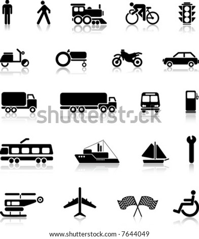 vector collection of transportation silhouettes - stock vector