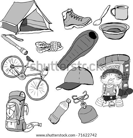 vector collection of travel gear