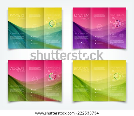 Vector collection of tri-fold brochure design templates with colorful smooth dynamic waves background - stock vector