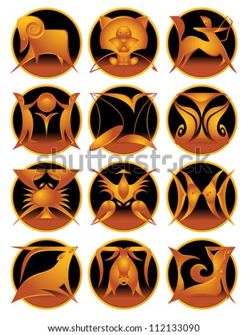 Vector collection of twelve zodiac signs