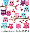 Vector Collection of Valentine's Day or Love Themed Owls - stock vector