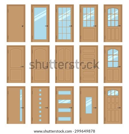 Front door house stock vectors vector clip art for Types of doors for houses
