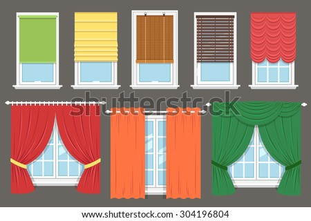 Vector collection of various window treatments: curtains, drapery, shades, blinds. Flat style. - stock vector