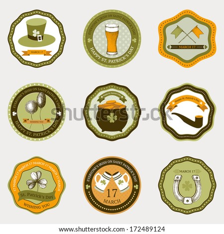 Vector collection of vintage  banners for St. Patrick's day with hand drawn elements - stock vector
