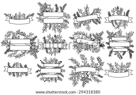 Vector Collection of Vintage Floral Banners - stock vector