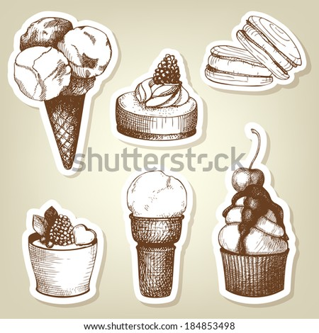 Vector collection of vintage hand drawn coffee and dessert stickers