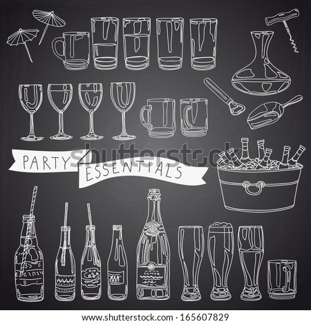 Vector collection vintage party essentials icons stock for Wine chalkboard art