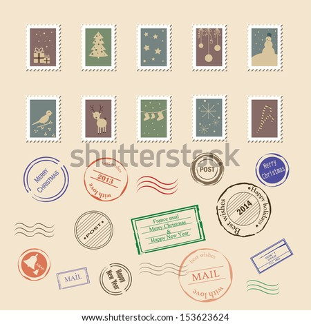 Vector collection of vintage post stamps. Perfect for Christmas and New year holidays. Eps 10 - stock vector