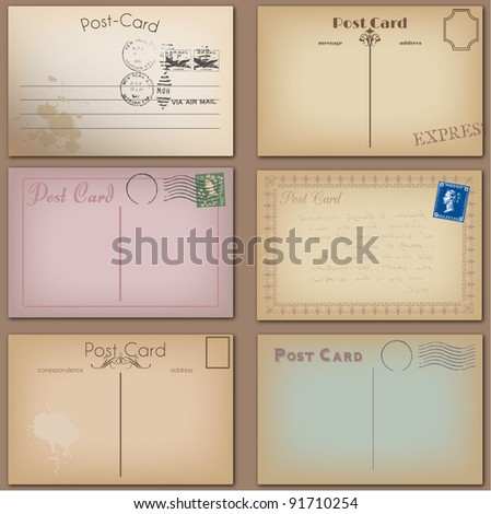 Vector Collection of Vintage Postcards - stock vector